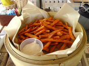 English: Picture of fries made from sweet potatoes.