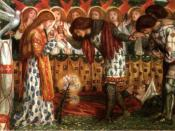 How Sir Galahad, Sir Bors and Sir Percival were Fed with the Sanc Grael; But Sir Percival's Sister Died by the Way, a watercolour by Dante Gabriel Rossetti