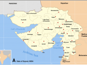 The Gulf of Khambat is at the right-lower-center of the map of Gujarat on the Arabian Sea.