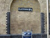 Platform 9-3/4 Entrance tribute to Harry Potter at King's Cross railway station, London, UK