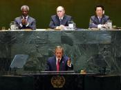 George W. Bush addressed the General Assembly on September 12, 2002 on Iraq prior to the passage of Resolution 1441.