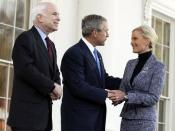 Republican presidential nominee Senator John McCain with President George W. Bush at the White House, Wednesday, March 5, 2008.