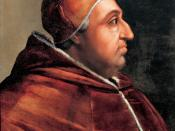 Portrait of Pope Alexander VI. Painting located at Corridoio Vasariano (museum) in Florence (Firenze), Italy. Measures of painting: 59 x 44 cm.