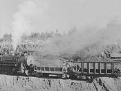 English: Carloads of iron ore at Mahoning pit. Hibbing, Minnesota.
