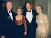 From left to right, US president Bill Clinton, Tipper Gore, US Vice President Al Gore, first lady Hillary Rodham Clinton.