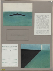 English: Maya Lin's original competition submission for the Vietnam Veterans Memorial in Washington, D.C. Architectural drawings and a one page written summary.