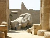 Temple of a million years of Rameses II, Luxor, Egypt. Ozymandias statue.