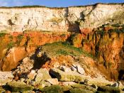 Many stretches of the East Anglia, England coastline are prone to heavy levels of erosion, such as this, the collapsed section of cliffs at Hunstanton, Norfolk.
