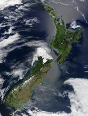 Satellite image of New Zealand in December 2002.