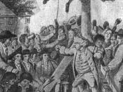 Mobbing the Tories by American Patriots in 1775-76; the Tory is about to be tarred and feathered