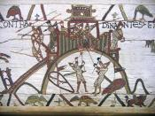 English: Section of the 11th-century Bayeux Tapestry. This part of the 70m tapestry – which depicts the Norman Conquest of England – shows the motte of Château de Dinan with soldiers attempting to burn it down.