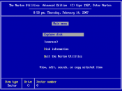 English: Sample screenshot of the Norton Utilities 4.0 opening screen, created using DOSBox.