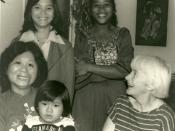 Barbara with adopted Vietnamese family: Dao Phuong Mai and children Ahn (Annie), Diep and Yen (Jenny) c. 1983