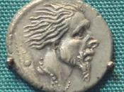 Roman Silver Denarius With Head Of Captive Gaul 48 BCE. Sear# 312.