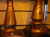 Copper pot stills at Auchentoshan Distillery in Scotland