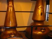Copper pot stills at Auchentoshan Distillery in Scotland
