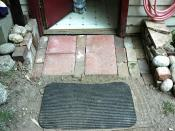 Inexpensive brick and pavers path entry, backdoor, $1 dollar each (Home Depot), total cost $4, Seattle, Washington, USA