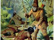 Daniel Defoe 1719 castaway novel Robinson Crusoe, with Crusoe standing over Man Friday after freeing him from the cannibals