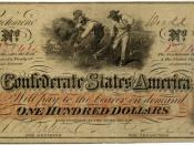A One Hundred Dollar Confederate States of America banknote dated December 22, 1862. Issued during the American Civil War (1861–1865).