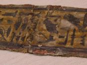 Cartonnage fragment from a coffin (New Kingdom) on display at the Rosicrucian Egyptian Museum in San Jose, California. RC 149