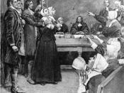 English: Two alleged witches being tried in Salem, Massachusetts as part of the infamous witchhunts.