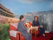 English: Reconstruction of the important meeting between Deng Xiaoping and Margaret Thatcher in Beijing on 24 September 1984 with talks about the future of Hong Kong - at the visitors platform of the Diwang Dasha in Shenzhen