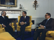 Meeting in the Oval Office between Richard Nixon, Henry Kissinger, and Egyptian Foreign Minister
