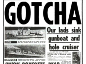 The sinking of the Belgrano was celebrated on the front page of the British tabloid newspaper The Sun