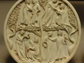 Mirror case, courtly scenes. Paris, first third of the 14th century. Carved ivory.