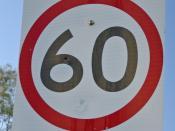 60KM/H Speed limit sign in Australia.