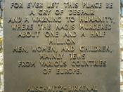 The English-language memorial in Auschwitz-Birkenau camp, Auschwitz II
