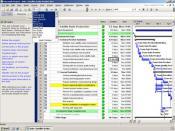 Microsoft Project 2007 showing a simple Gantt chart