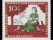 English: series for social welfare 1965, fairy tale of the brothers Grimm, Cinderella Deutsch: Wohlfahrtsmarken 1965, Märchen der Brüder Grimm, Aschenputtel :*Graphics by Stefula :*Ausgabepreis: 10+5 Pfennig :*First Day of Issue / Erstausgabetag: 6. Oktob