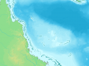 The Great Barrier Reef lies off the coast of Queensland
