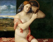 Naked Young Woman in Front of the Mirror, Bellini's first female nude, painted when he was about 85 years old, circa 1515