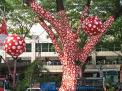 Yayoi Kusama - Ascension of Polkadots on the Trees, during the Singapore Biennale 2006.