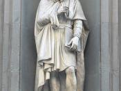 A statue of Leonardo outside the Uffizi Gallery in Florence, based upon contemporary descriptions.