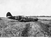 A crashed U.S. Army Air Force Curtiss P-40E Warhawk of the 33rd Pursuit Group (Provisional) at Darwin, Northern Territories (Australia). This was one of nine USAAF P-40s shot down during the Japanese Raid on Darwin on 19 February 1942.