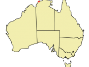 Location of Darwin on Australian continent