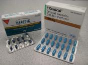 English: Medication used for obesity. Orlistat and sibutramine.