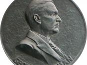 Medallion depicting George Eastman hanging in the entrance hall of Eastmaninstitutet.