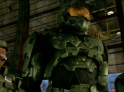 Sergeant Avery Johnson, Master Chief and Miranda Keyes (left to right), as they appear in Halo 3.