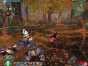 Screenshot of Fable for the PC, showing the Hero fighting a bandit. In the top left of the screen are health and mana meters, and in the top right is a map. Available spells are displayed on the bottom edge of the screen.