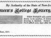 Lottery ticket to raise money for Queen's College (now Rutgers University), New-Brunswick, New Jersey, USA