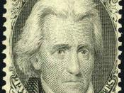 English: The first Andrew Jackson US Postage Stamp produced by the National Bank Note Co (later called the American Bank Note Co.) was issued in 1863, 18 years after his death.[14]. Issue of 1875, reissue of the original 1863