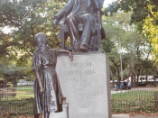 Dickens and Little Nell (1890), a statue by Francis Edwin Elwell in Clark Park