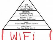 Maslow's hierarchy of needs: Self-actualisation, Self-esteem, Love, Safety, Physiology and ...WiFi!