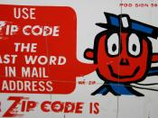 English: ZIP code promotional sign with