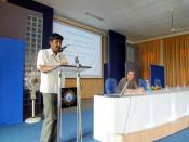 English: Nanda Kumar talks in a seminar 'free and open source software in education