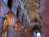 The Romanesque interior of St. Magnus' Cathedral, the seat of the bishops of Orkney.